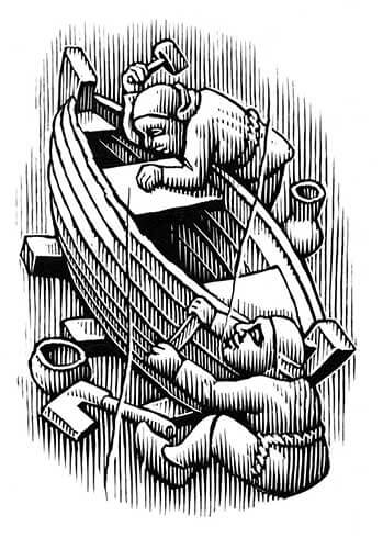 Boat builders illustration